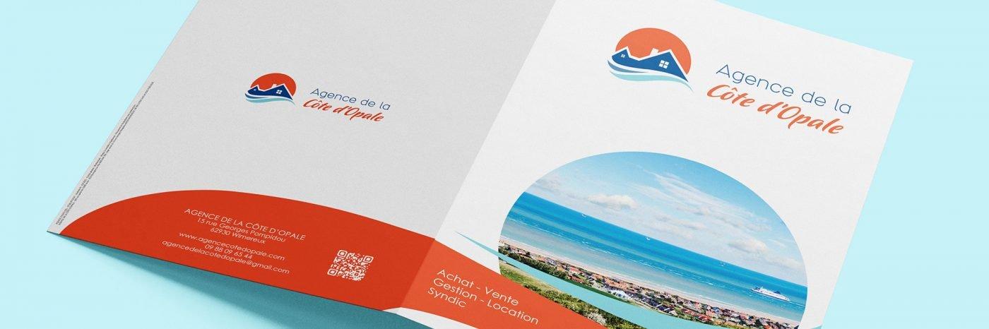StudioDel Portfolio Agence Côte d'Opale Plaquette Logo Carte de visite Plaquette commerciale Carton de correspondance Panneau à vendre Fiche vitrine Site web