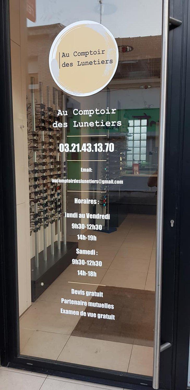 StudioDel Portfolio Au Comptoir des Lunetiers Enseigne Flocage Porte d'entrée